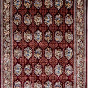 فرش ابریشم قم رنگ شرابی - کد 4014 | فرش اکسیر