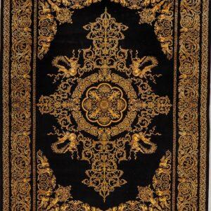 فرش ابریشم قم رنگ مشکی - کد 4015 | فرش اکسیر