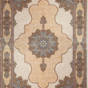 فرش ابریشم قم رنگ بژ - کد 4017 | فرش اکسیر