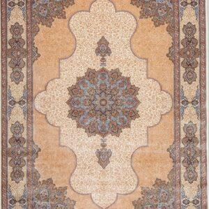 فرش ابریشم قم رنگ کرم - کد 4018 | فرش اکسیر
