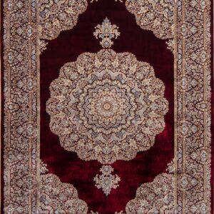 فرش ابریشم قم رنگ شرابی - کد 4020 | فرش اکسیر