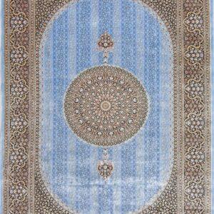 فرش ابریشم قم رنگ آبی - کد 4021 | فرش اکسیر