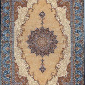 فرش ابریشم قم رنگ بژ - کد 4022 | فرش اکسیر