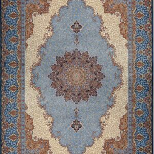 فرش ابریشم قم رنگ آبی - کد 4023 | فرش اکسیر