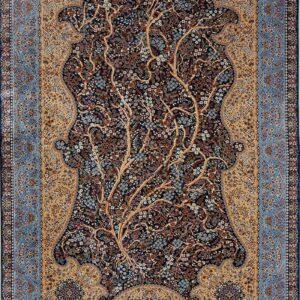فرش ابریشم قم رنگ قهوه ای - کد 4024 | فرش اکسیر