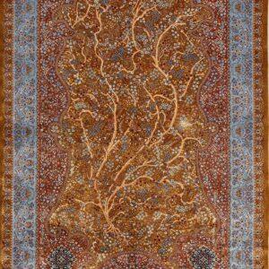 فرش ابریشم قم رنگ مسی - کد 4025   فرش اکسیر