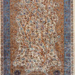 فرش ابریشم قم رنگ کرم - کد 4026 | فرش اکسیر
