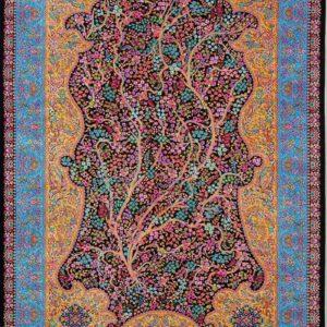 فرش ابریشم قم رنگ لاجوردی - کد 4027   فرش اکسیر