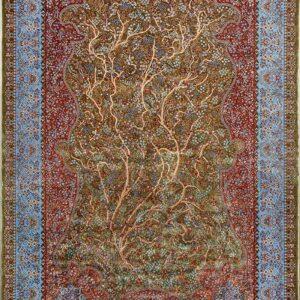 فرش ابریشم قم رنگ زیتونی - کد 4028   فرش اکسیر