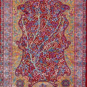 فرش ابریشم قم رنگ شرابی - کد 4029   فرش اکسیر