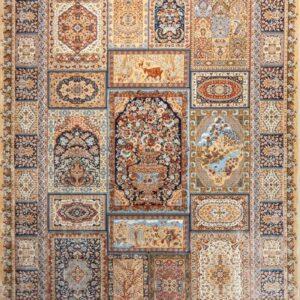 فرش ابریشم قم رنگ بژ - کد 4030   فرش اکسیر