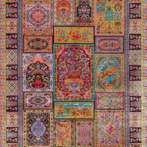 فرش ابریشم قم رنگ شرابی - کد 4031   فرش اکسیر