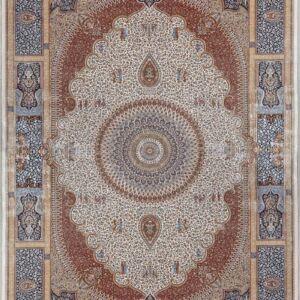 فرش ابریشم قم رنگ کرم - کد 4032   فرش اکسیر