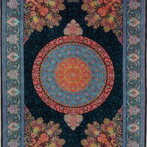 فرش ابریشم قم رنگ مشکی - کد 4034 فرش ابریشم قم رنگ شرابی - کد 4031   فرش اکسیر