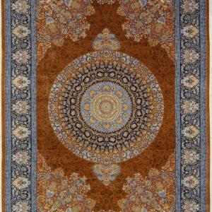 فرش ابریشم قم رنگ قهوه ای - کد 4036 فرش ابریشم قم رنگ شرابی - کد 4031 | فرش اکسیر