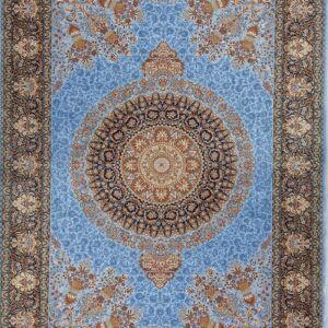 فرش ابریشم قم رنگ آبی روشن - کد 4038 فرش ابریشم قم رنگ شرابی - کد 4031 | فرش اکسیر