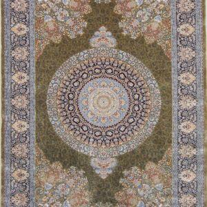 فرش ابریشم قم رنگ زیتونی - کد 4040 فرش ابریشم قم رنگ شرابی - کد 4031 | فرش اکسیر