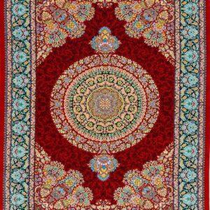 فرش ابریشم قم رنگ قرمز - کد 4042 | فرش اکسیر