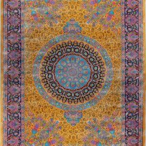 فرش ابریشم قم رنگ زرد - کد 4043 فرش ابریشم قم رنگ شرابی - کد 4031 | فرش اکسیر