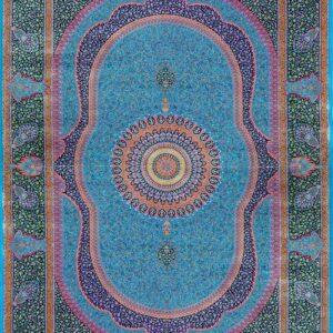 فرش ابریشم قم رنگ آبی - کد 4045 | فرش اکسیر