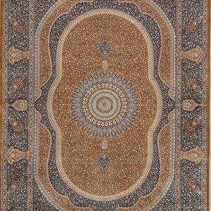 فرش ابریشم قم رنگ قهوه ای - کد 4046 | فرش اکسیر