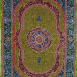 فرش ابریشم قم رنگ زیتونی - کد 4048 | فرش اکسیر