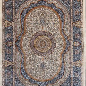 فرش ابریشم قم رنگ کرم - کد 4047 | فرش اکسیر