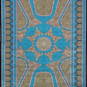 فرش ابریشم قم رنگ آبی - کد 4049 | فرش اکسیر