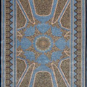 فرش ابریشم قم رنگ لاجوری - کد 4050 | فرش اکسیر