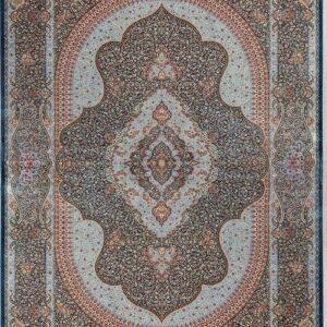 فرش ابریشم قم رنگ آبی - کد 4051 | فرش اکسیر