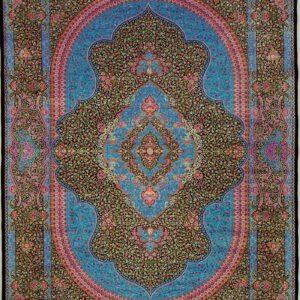 فرش ابریشم قم رنگ سبز - کد 4052 | فرش اکسیر