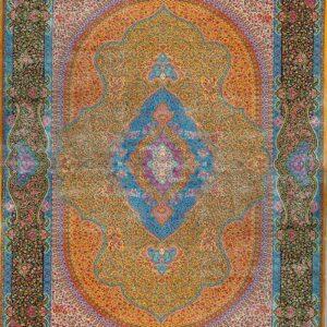 فرش ابریشم قم رنگ زرد - کد 4053 | فرش اکسیر