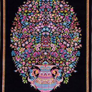 فرش ابریشم قم رنگ مشکی - کد 4054 | فرش اکسیر