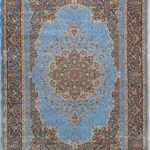 فرش ابریشم قم رنگ آبی - کد 4055 | فرش اکسیر