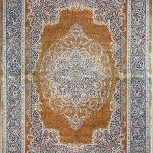 فرش ابریشم قم رنگ مسی - کد 4056 | فرش اکسیر