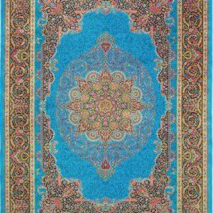فرش ابریشم قم رنگ لاجوردی - کد 4057 | فرش اکسیر