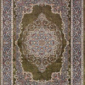 فرش ابریشم قم رنگ زیتونی - کد 4058 | فرش اکسیر