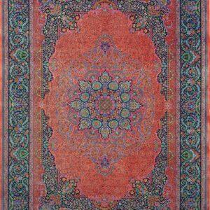 فرش ابریشم قم رنگ صورتی - کد 4060 | فرش اکسیر