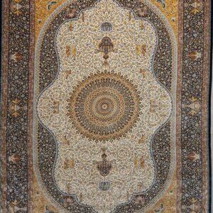 فرش ابریشم قم رنگ بژ - کد 4061 | فرش اکسیر