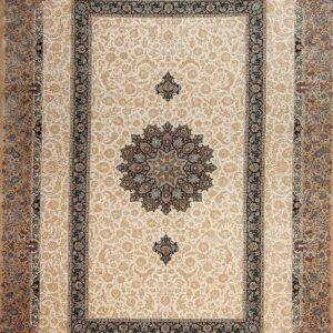 فرش ابریشم قم رنگ بژ - کد 4062 | فرش اکسیر