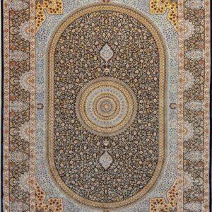 فرش ابریشم قم رنگ سبز - کد 4064 | فرش اکسیر
