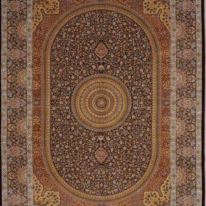 فرش ابریشم قم رنگ زیتونی - کد 4065 | فرش اکسیر