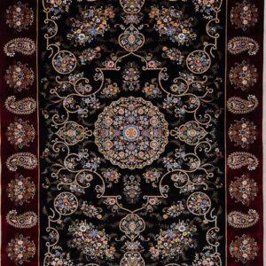 فرش ابریشم قم رنگ سبز - کد 4066 | فرش اکسیر