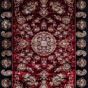 فرش ابریشم قم رنگ شرابی - کد 4067 | فرش اکسیر