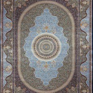 فرش ابریشم قم رنگ آبی - کد 4068 | فرش اکسیر