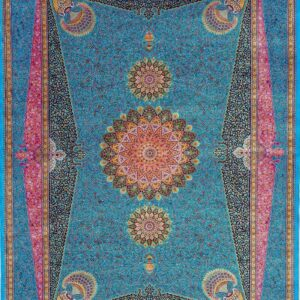 فرش ابریشم قم رنگ آبی - کد 4071 | فرش اکسیر