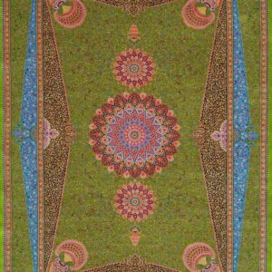 فرش ابریشم قم رنگ سبز - کد 4072 | فرش اکسیر