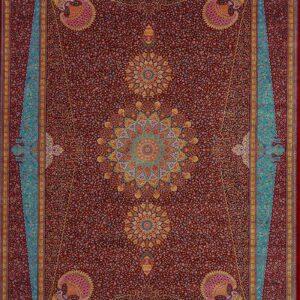 فرش ابریشم قم رنگ قرمز - کد 4074 | فرش اکسیر