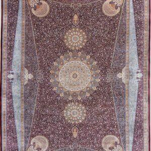 فرش ابریشم قم رنگ شرابی - کد 4075 | فرش اکسیر