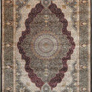 فرش ابریشم قم رنگ سبز - کد 4076 | فرش اکسیر